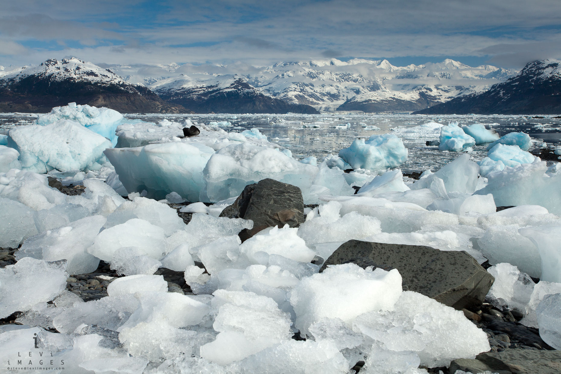 Ice fragments deposited at high tide, Columbia Glacier. Prince William Sound, Alaska