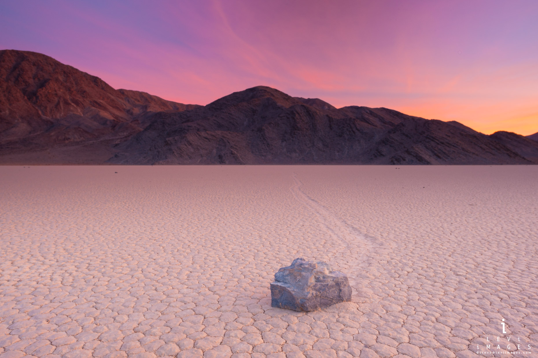 Racetrack Playa at sunset. Death Valley NP