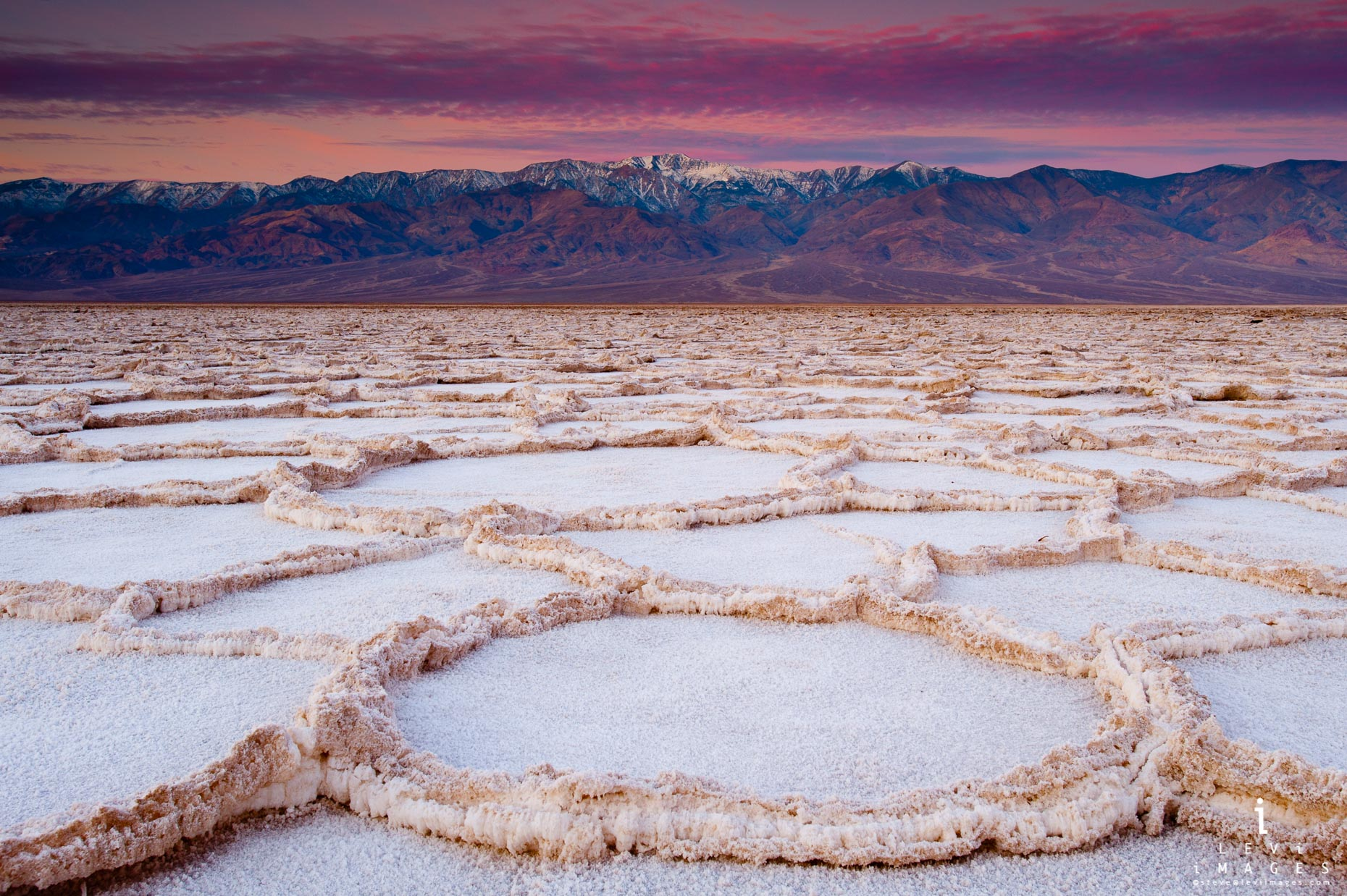 honeycomb salt at sunrise.  Badwater Death Valley NP