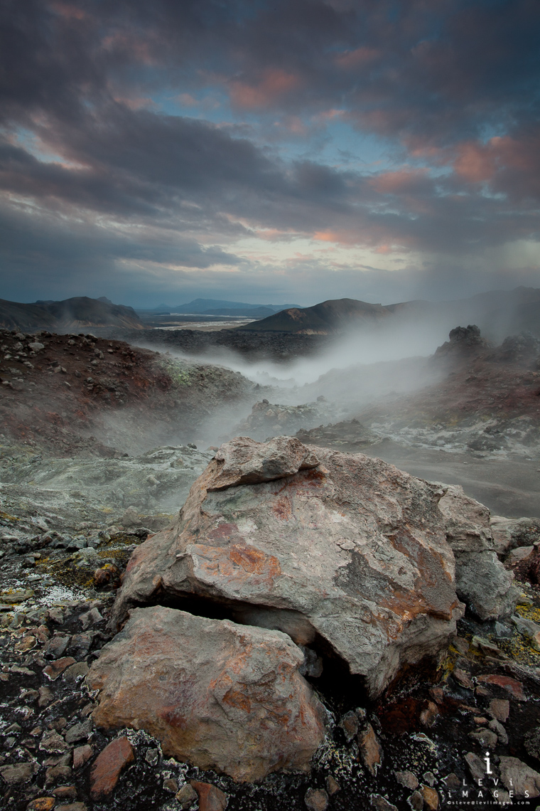 Blahnukur steam vent at sunrise. Landmannalaugar, Iceland