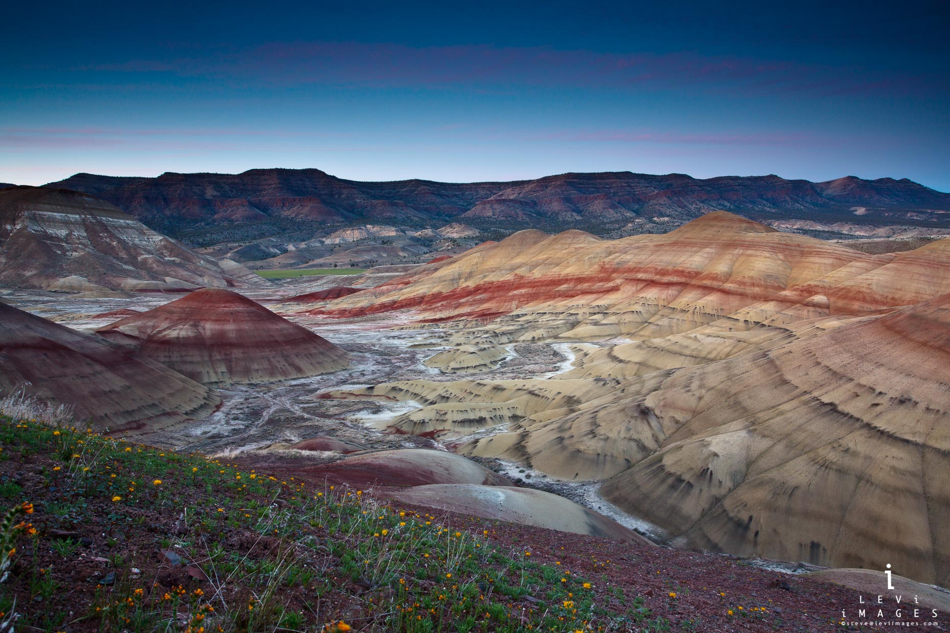 Painted hills at dusk. John Day Fossil Beds National Monument, Oregon