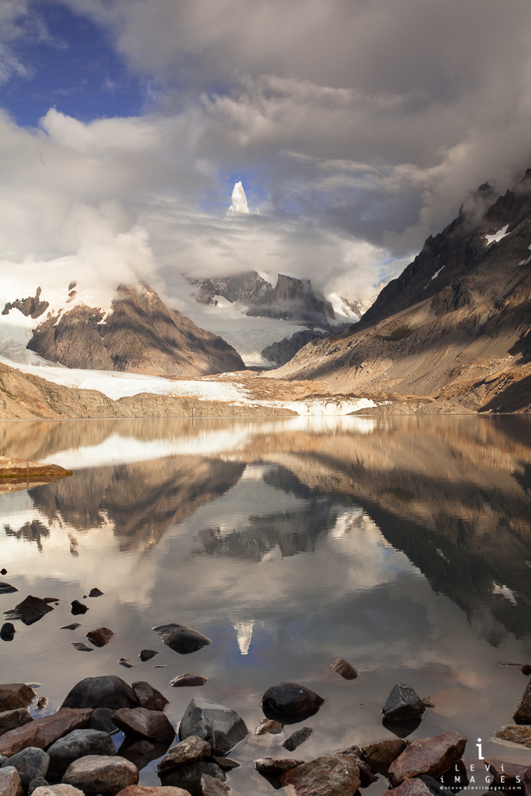 Cerro Torre mountain reflected in glacier pond, Patagonia, Argentina