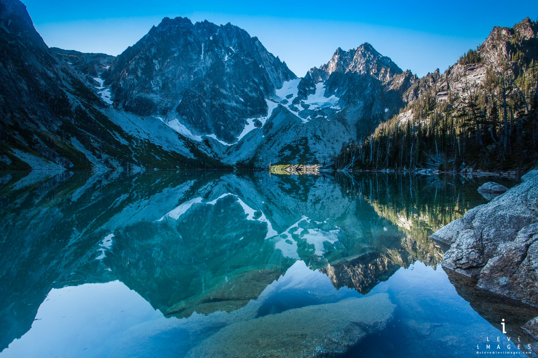 Dragontail Peak reflected in Lake Colchuck, The Enchantments, Washington