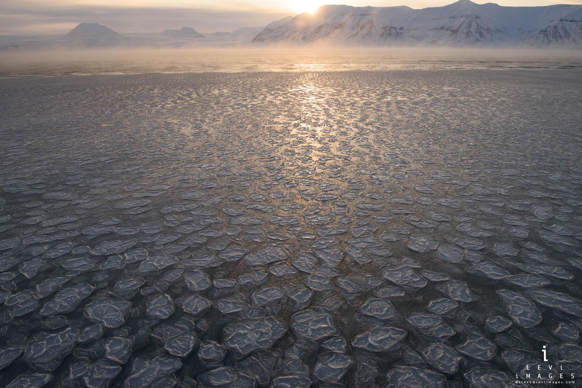 Ice pancakes at sunrise fjord. Svalbard, Norway