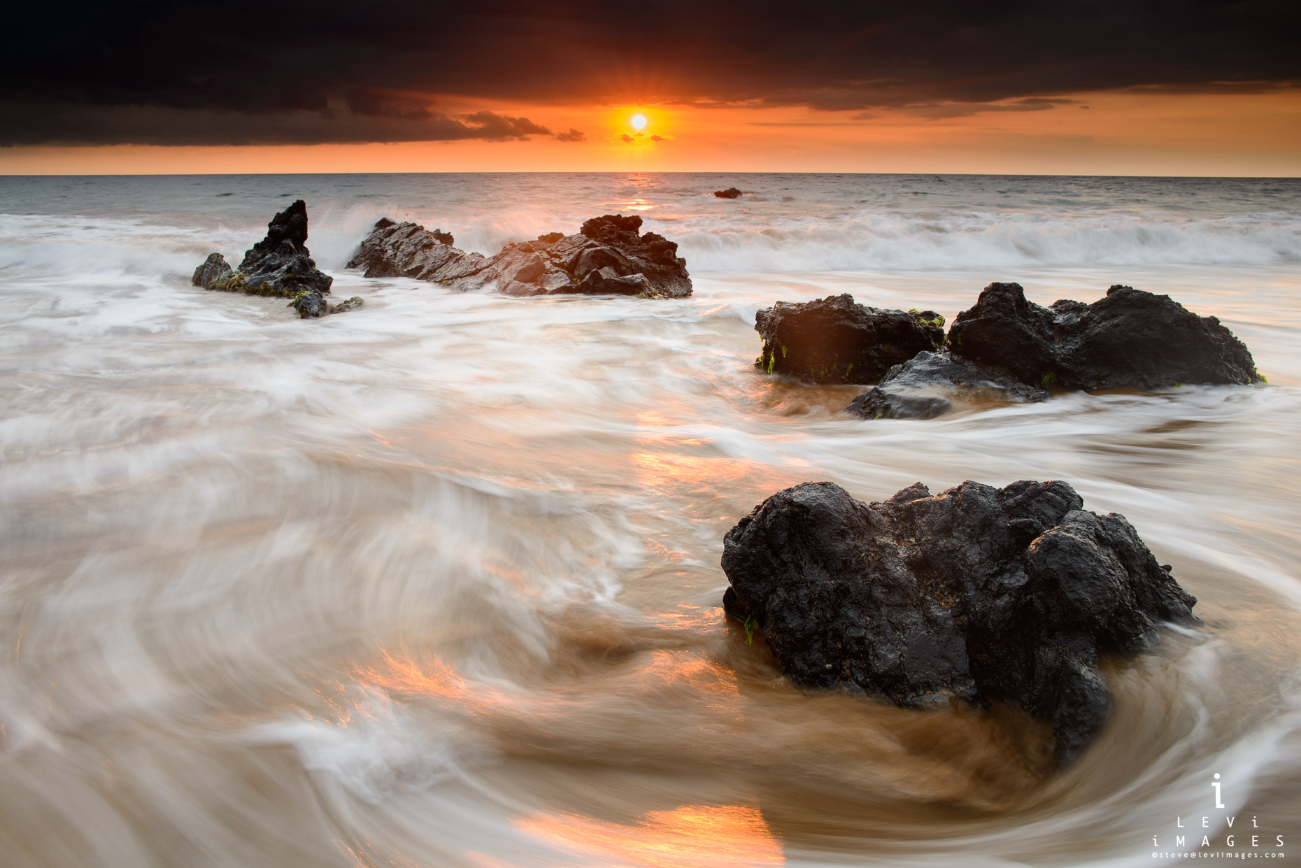 Hawaiian beach sunset. Maui, Hawaii